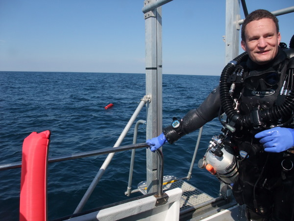elated diver..Nick back on board
