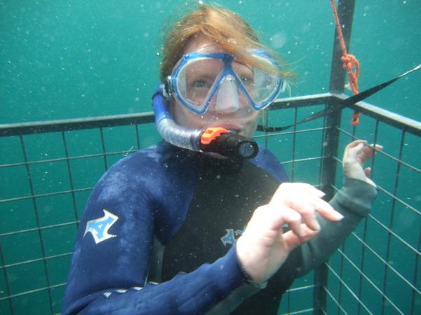 Bex in Shark Cage