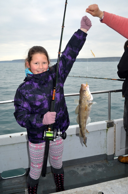 Caroleena on an earlier trip caught a lovely Cod on NewquaySea safaris and  Fishing Trip