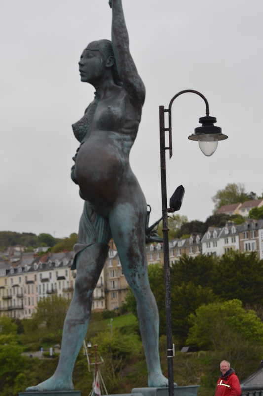 Chris admiring Verity...a superb statue guarding Ilfracoombe