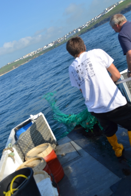 "Apprentice Newquay Fisherman brings net onboard ""Atlantic Voyager"""