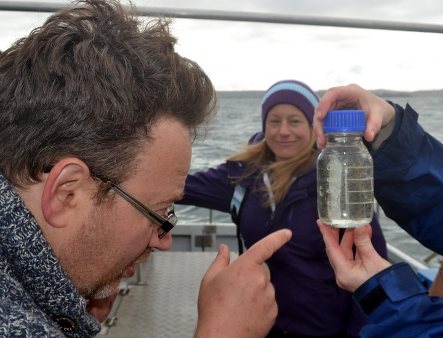 Jason Birt inspects Plankton sample