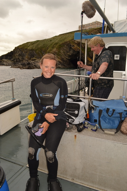 "Miranda Krestovnikoff from the One Show filming aboard ""Atlantic Diver"""