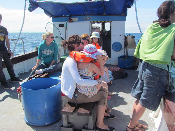 family enjoying sea safari from aboard the Bounty