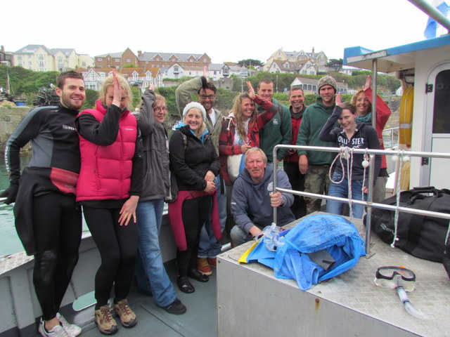"Happy Crew after Atlantic Diving ""Swimming with Basking Sharks"""