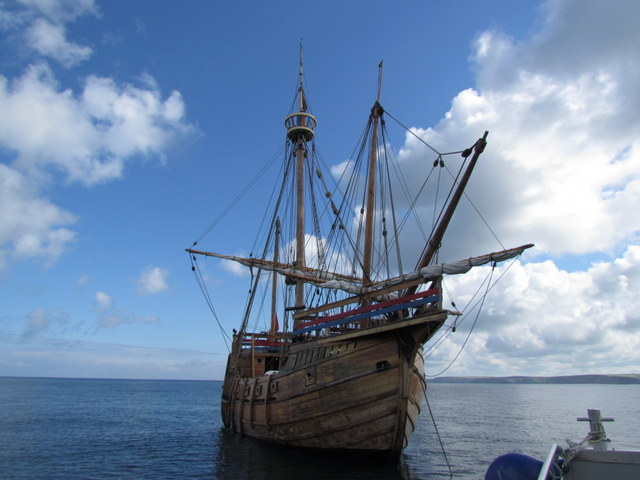 """The """"Mathew"""" moored up outside Newquay Harbour"""