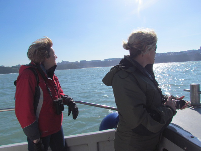 Linda and Gabi enjoying viewing their home town of Newquay from the Sea